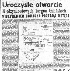 Entuzjastyczna relacja prasowa z rozpoczęcia targów, które w 1947 roku odbyły się w Sopocie i w Gdyni.
