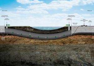 Przebieg tunelu pod korytem Martwej Wisły.