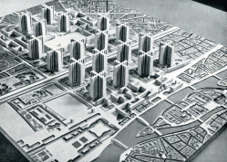 Wizje Le Corbusiera zakładały całkowitą przebudowę miast. Proponował on m.in. zburzenie części Paryża, by zrealizować osiedle wieżowców.