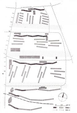 Zasada kompozycji Przymorza Wielkiego wg. proj. T. Różańskiego: 1 - budynki 11-kondygnacyjne, 2 - budynki pięciokondygnacyjne, 3 - ośrodki usługowe, 4 - pasy zieleni, 5 - osie głównych ulic, 6 - ciek