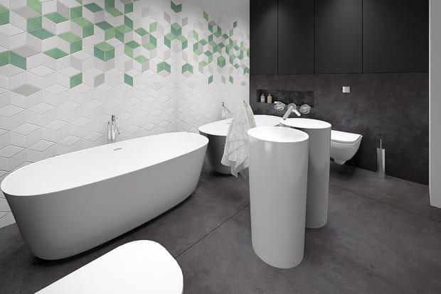 Koncepcja druga. Cała ściana za umywalką - od podłogi do sufitu - pokryta jest taflami szkła. To doskonały sposób na optyczne powiększenie małego pomieszczenia.