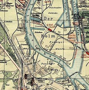 Mapa prezentująca obie stocznie w 1924 roku.