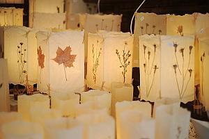 Lampy z zatopionymi w żywicy liśćmi i kwiatami można kupić nieopodal Bazyliki Mariackiej.