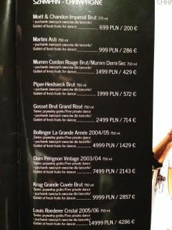 Ceny w Cocomo - absurdalnie wysokie, ale umieszczone w menu. Klient nie może więc oskarżyć klubu o oszustwo, bo wie, co ile kosztuje.