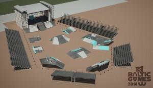 Wizualizacja skateparku, który powstanie na Baltic Games 2014. Nowością jest wkomponowanie sceny muzycznej w konstrukcję parku.
