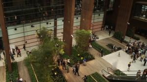 Wnętrze ECS-u ocieplono Ogrodem Zimowym, zdobiącym parter budynku.