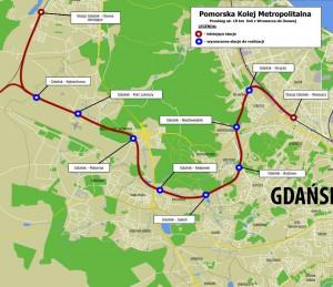 Przebieg 18-kilometrowej linii PKM w Gdańsku.