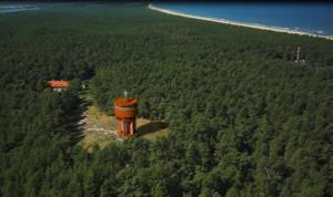 Położenie wieży ciśnień na Wyspie Sobieszewskiej.