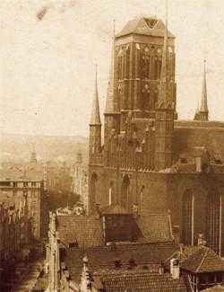 Fragment pierwszej fotografii Bazyliki Mariackiej Flottwella z 1854 roku.