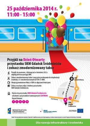 Plakat promujący wydarzenie na budowanym przystanku SKM Śródmieście.