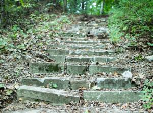 Tak do niedawna wyglądały leśne schody, ze stopniami wykonanymi z nagrobków.