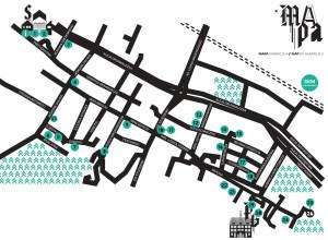 Mapa instalacji festiwalu Narracje.