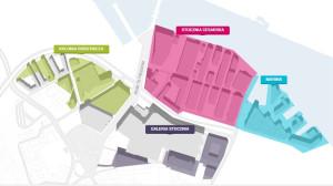 Podział terenów BPTO na tzw. sąsiedztwa, czyli tereny z dominującymi funkcjami od mieszkaniowej przez biurowo-usługową po rekreacyjną i hotelową.