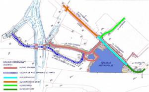 Plan budowy ulic w rejonie stacji Gdańsk Wrzeszcz i powstającej Galerii Metropolia.