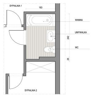 Fragment mieszkania z łazienką w układzie proponowanym przez dewelopera.