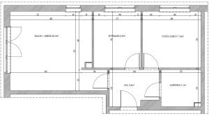 Rzut całego mieszkania. Projektowane pomieszczenie ma zaledwie 23,3 m kw.