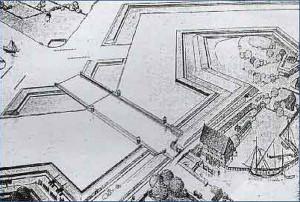 Tak pierwotnie w XVII wieku wyglądała Kamienna Grodza. Widoczny jest budynek młyna oraz śluza z czterema parami wrót.