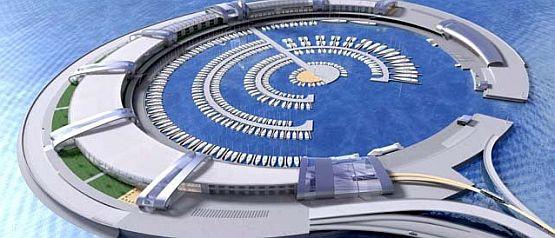 Projekt mariny-wyspy, która miałaby powstać na Bałtyku wykonano pod koniec lat 90-tych. Jego twórcą jest inż. arch. Tomasz Bosiacki.