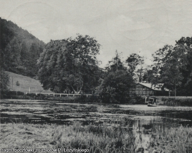 Fragment pocztówki z lat 30. ubiegłego wieku. W głębi widoczny Leśny (Krzaczasty) Młyn.