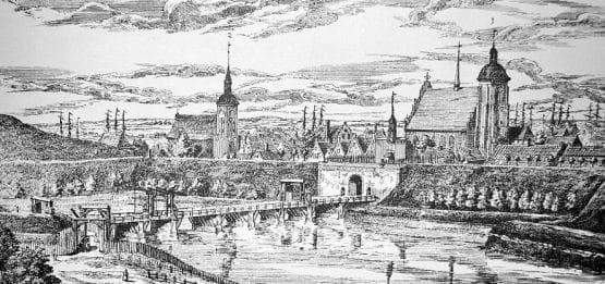 Widok na Stare Miasto i Bramę św. Jakuba, którą po wyjściu z gospody mijali Schönhoff i Kreuzer. Rycina Mateusza Deischa z 1765 r.