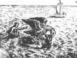 XVII-wieczna rycina przedstawiająca orły walczące nad Kolibkami.