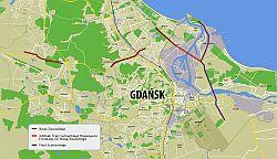 Mapa przebiegu ul.Nowej Słowackiego i Trasy Sucharskiego.