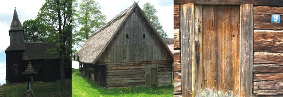 Drewniana zabudowa w Sominach; kościół i chata owczarza