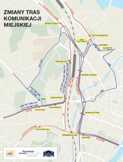 Schemat zmiany tras na czas zamknięcia ul. Hucisko.