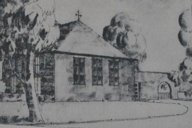 """Ilustracja przedstawiająca dom spotkań ewangelików we Wrzeszczu, zamieszczona w gazecie """"Danziger Neuste Nachrichten"""" z 1933 r."""