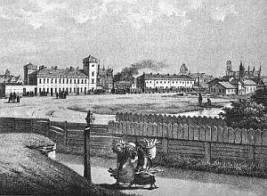 Pierwszy gdański dworzec kolejowy tuż po zbudowaniu.