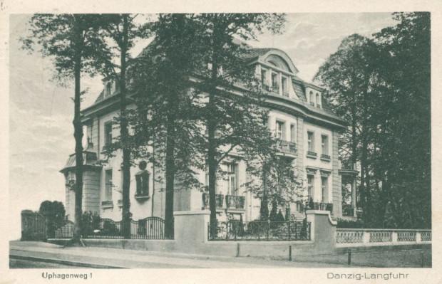 Willa Rudolfa Patschkego przy obecnej ul. Jana Uphagena 23, zbudowana w latach 1908-1909. Pocztówka z okresu międzywojennego ze zbiorów Krzysztofa Gryndera.