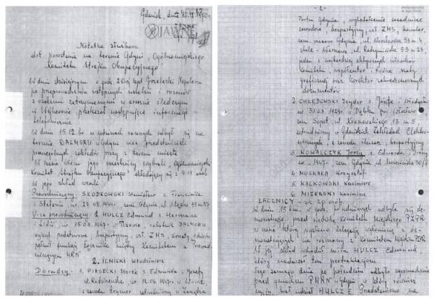 Notatka SB-eka zawierająca relację z przebiegu wydarzeń w Gdyni 15 grudnia.