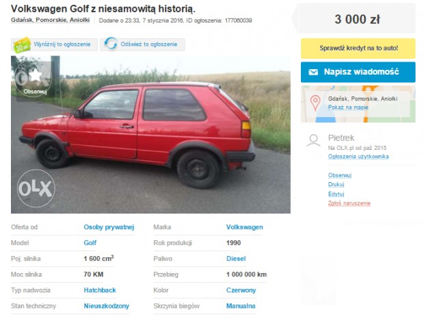 47b1d29282 Ogłoszenie o sprzedaży Golfa podbija sieć - GDAŃSK