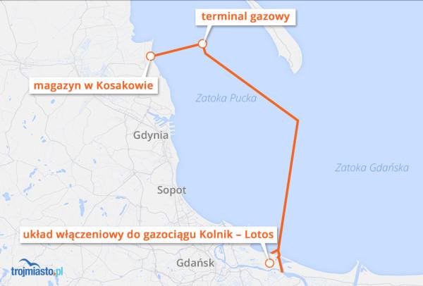 Lokalizacja terminalu gazowego na Zatoce Puckiej.