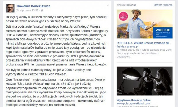 Komentarz Sławomira Cenckiewicza na FB.