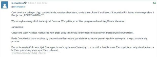 Komentarz Lecha Wałęsy na stronie Wykop.pl.