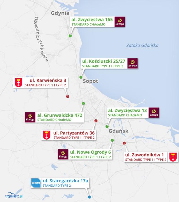 Bezpłatne stacje ładujące na terenie Trójmiasta i okolic ze standardami CHAdeMO, Type 1 i Type 2.