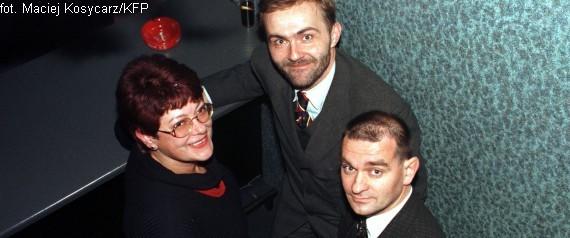 Franciszka Cegielska, Wojciech Szczurek oraz adwokat Andrzej Zwara w czasie bankietu na Festiwalu Polskich Filmów Fabularnych w Gdyni w 1997 r.