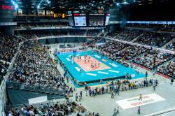 Klasyczny siatkarski terafleks podczas meczu Lotosu Trefl Gdańsk.