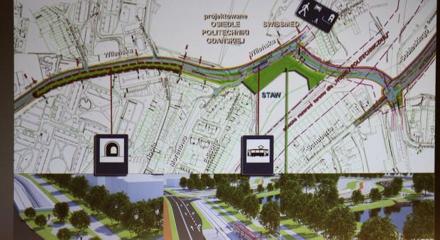 Lokalizacja przystanku na wysokości zbiornika Wileńska i szpitala Swissmed.