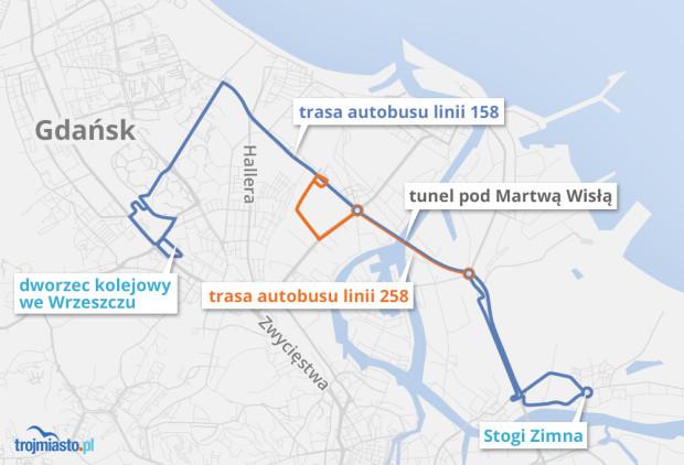 Schemat linii 158 i 258, które pojadą tunelem pod Martwą Wisłą