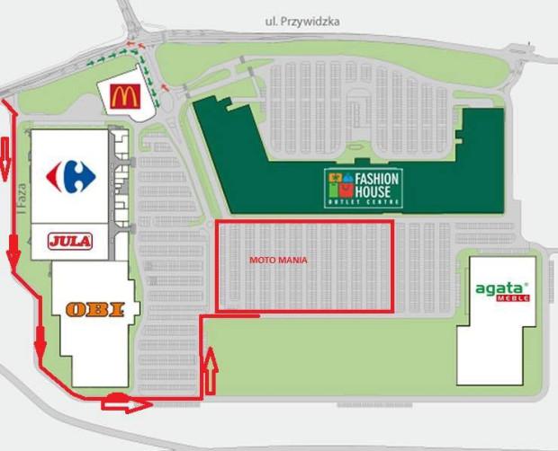 Zlot odbędzie się na parkingu zlokalizowanym za Fashion House Outlet Centre.