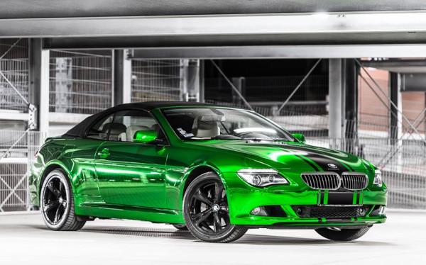 BMW 650i w zielonym chromie. Takiego auta nie da się nie zauważyć na ulicy.