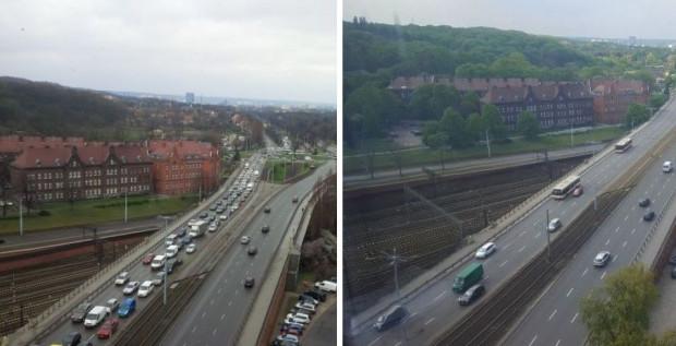 Błędnik i al. Zwycięstwa widziane z okien redakcji Trojmiasto.pl. Po lewej przed otwarciem tunelu, po prawej - po jego otwarciu.