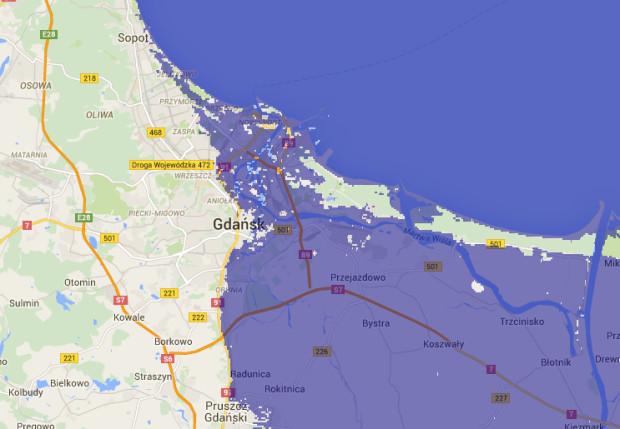 Skutki podwyższenia poziomu Bałtyku o jeden metr na terenie Gdańska i Sopotu...