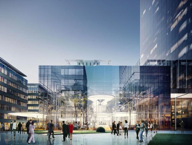 Wewnętrzny dziedziniec pomiędzy budynkami tworzącymi kompleks Olivia Business Centre.