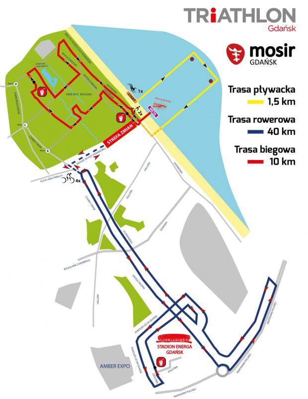 Trasa gdańskiego triathlonu.