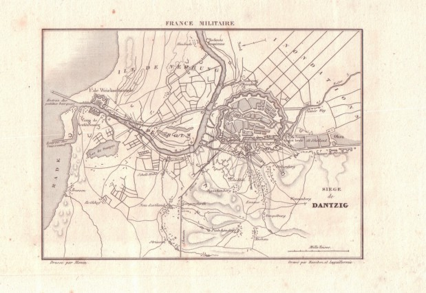 Francuska mapa Gdańska i okolic z 1835 roku.