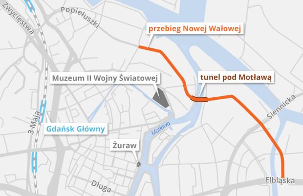 Planowany odcinek ul. Nowej Wałowej w Gdańsku wraz z tunelem pod Motławą.