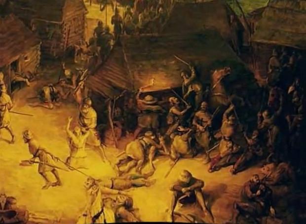 Malarska wizja walk o Gdańsk w 1308 roku, nazwanych - na wyrost - rzezią Gdańska.